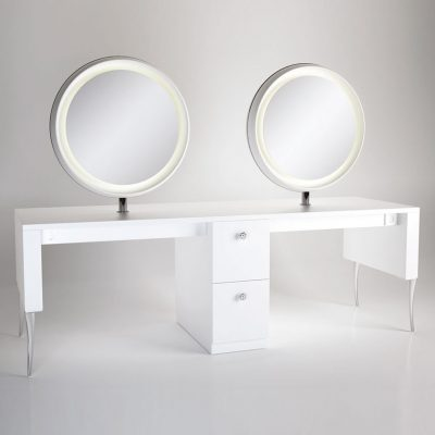 gamma bross france polaris salon emotion polaris 4 2 coiffeuse centrale 4 places miroir rond retroeclaire 01 400x400 - Polaris 4.2