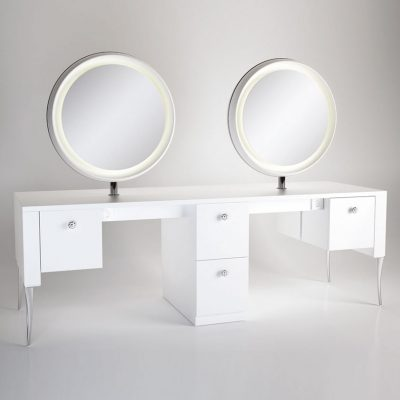 gamma bross france polaris salon emotion polaris 4 4 coiffeuse centrale 4 places miroir rond retroeclaire 01 400x400 - Polaris 4.4