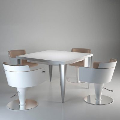 gamma bross france polaris salon emotion color lounge table carree technique avec pieds aluminium 4 places 01 400x400 - Color Lounge (carré)
